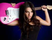 Girl with a pink guitar