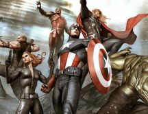 Iron Man, Thor, Hulk, Captain America - The Avengers comics