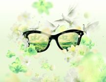 Glasses, white doves and flowers - Nature