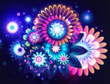 Abstract flowers vector - beautiful colors