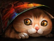 Drawing - colorful cat hiding