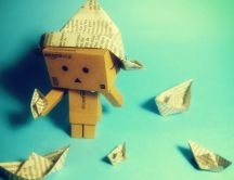 Danbo box making paper boat