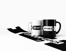 Two black and white mugs - 3D art
