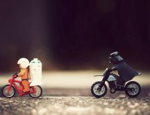 Lego Darth Vaider on a bike