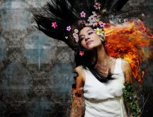 Flower art - woman HD wallpaper