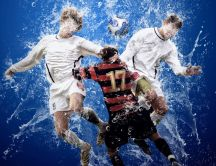Playing football in the water 3D wallpaper