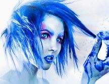 Abstract female - blue hair, eyes, lips and blood
