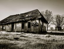 Dilapidated old house - black and white wallpaper