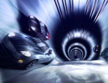 Abstract cars coming out of a tunnel - HD wallpaper