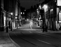 Black and white street - Tramways on the road