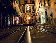 Drawn tram at night in the city HD wallpaper