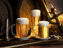 Three different mugs, same delicious beer HD wallpaper