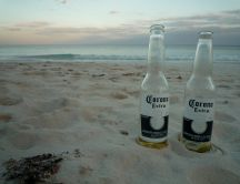 Two empty beer bottles on the beach