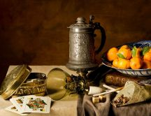 Collection of antiquities on a table HD wallpaper