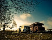 Rusty old cars - abandoned in a field HD wallpaper