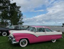 Modernized old car - vintage pink car HD wallpaper