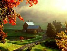 Autumn landscape painting HD drawing wallpaper