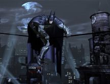 Batman on a wire - The dark knight rises HD game wallpaper