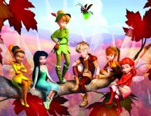 Tinker Bell and her friends sitting in a tree HD wallpaper