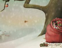 Santa's toy bag hiding behind a tree HD wallpaper