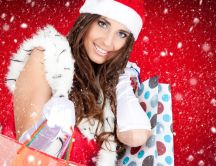 Santa girl - Christmas shopping HD wallpaper