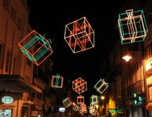 Lights arranged in the shape of gift above the city