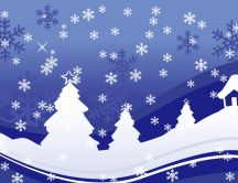 Drawing - winter landscape and snowflakes HD wallpaper