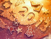 Different types of biscuits with cinnamon - stars, numbers