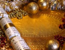 Golden Christmas background - ornaments and candles