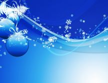 Blue Christmas background - snowflakes and ornaments