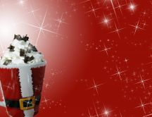 Hot chocolate in a Santa mug HD wallpaper