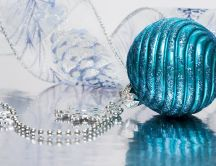 Turquoise ornament and silver beads - Christmas arrangement