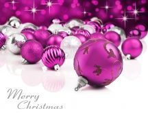 White and purple Christmas ornaments - Merry Christmas
