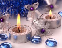 Silver ornaments and blue accessories for Christmas
