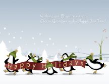 Five funny penguins wish you a Merry Christmas HD wallpaper