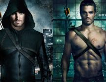 Arrow - Oliver Queen with and without the green hood