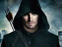 Oliver Queen under the green hood HD wallpaper