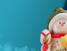 Porcelain Snowman - Ornament for Christmas tree