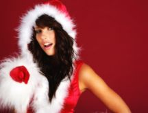 Beauty woman dressed in Santa Claus HD wallpaper