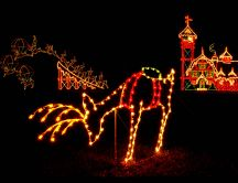 Lights in the shape of Santa Claus and reindeer