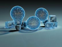 Frozen bulbs and ice cubes HD wallpaper