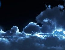 Moonlight above the clouds HD wallpaper