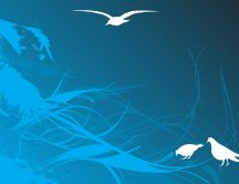 Abstract blue wallpaper - contains three seagulls