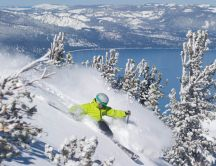 Winter time - Lake Tahoe Powder on background