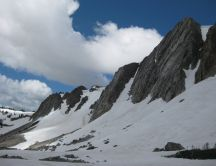 Mountain peaks - rocks covered with snow