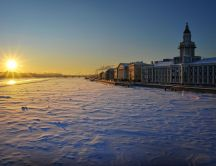 Winter sunrise in Russia - St. Petersburg