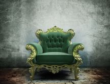 Green throne in a wilderness room