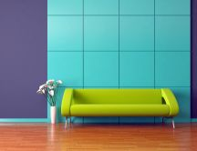 Green couch in an abstract room