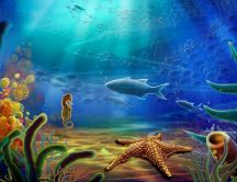 Beautiful landscape under the water - sea animals