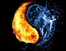 Yin and Yang versus fire and water HD wallpaper